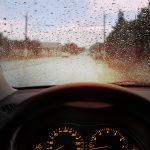 raindrops on windshield impedes vision
